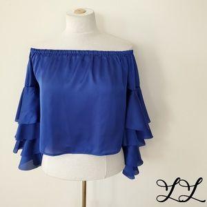 Banjul Top Blouse Gypsy Ruffles Cropped Royal Blue